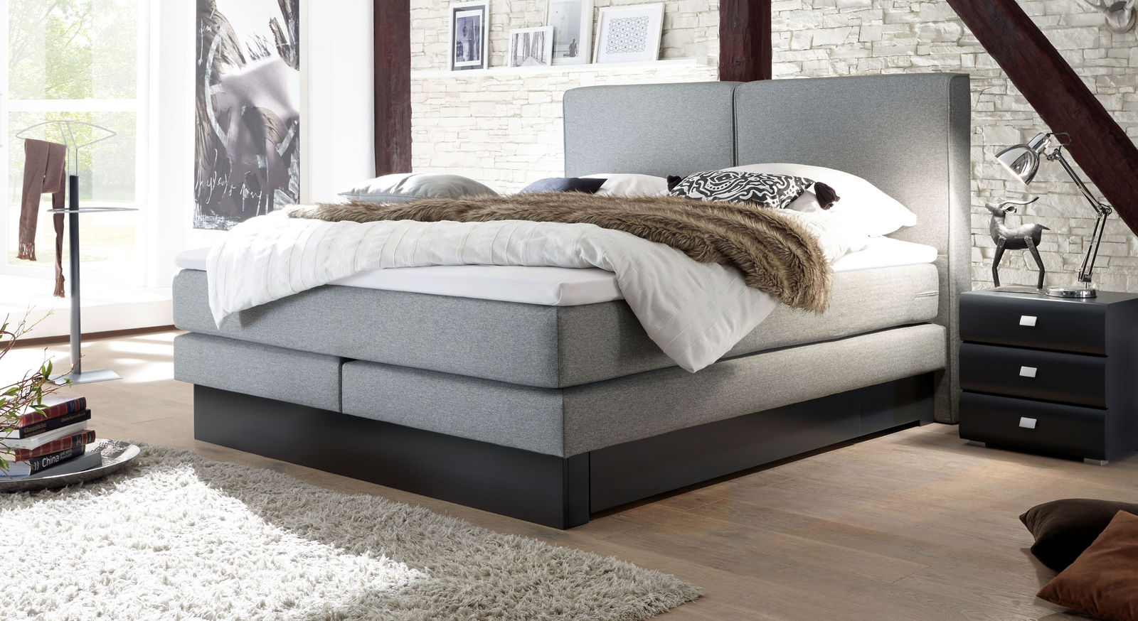 www boxspringbett de boxspringbett in z b 160x200 cm in h2 bis h5 g nstig arlon boxspringbett. Black Bedroom Furniture Sets. Home Design Ideas
