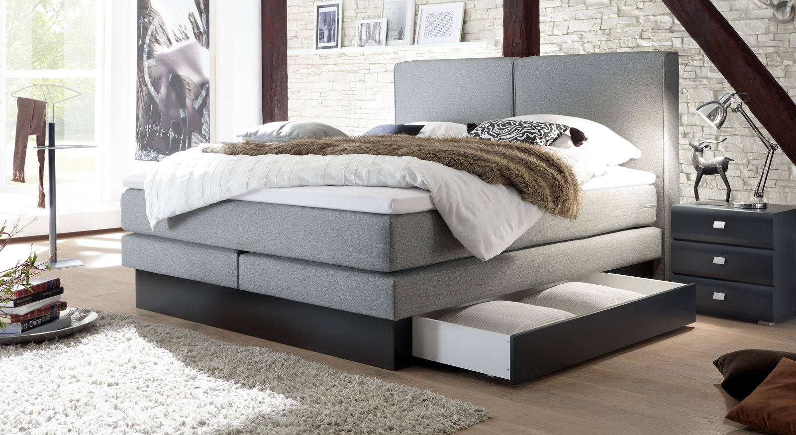 boxspringbett mit schubladen boxspringbett holz mit. Black Bedroom Furniture Sets. Home Design Ideas