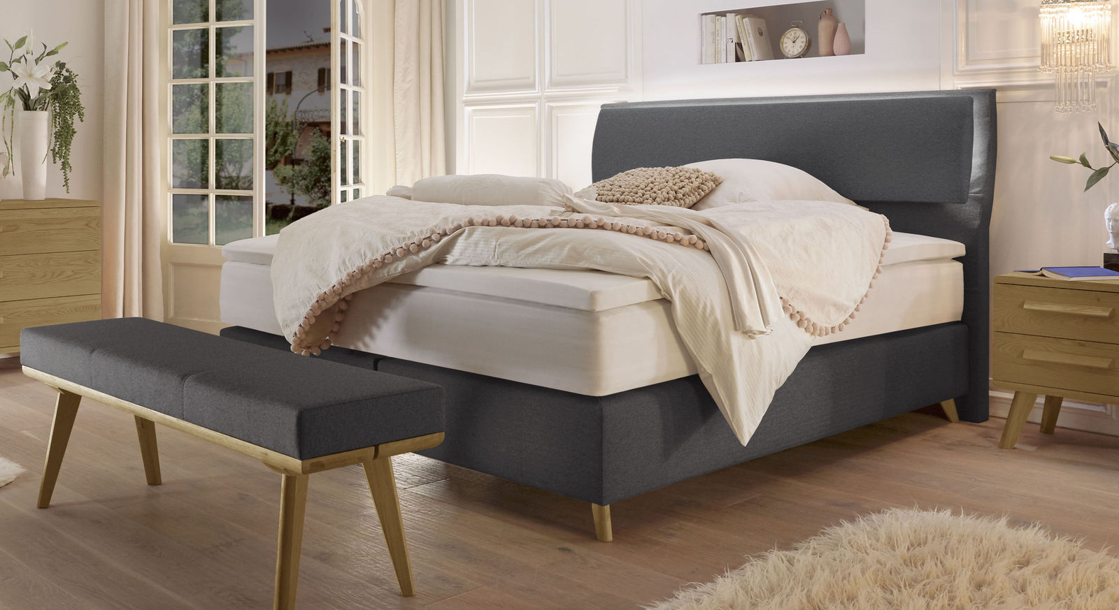 Somera Boxspringbett in anthrazit
