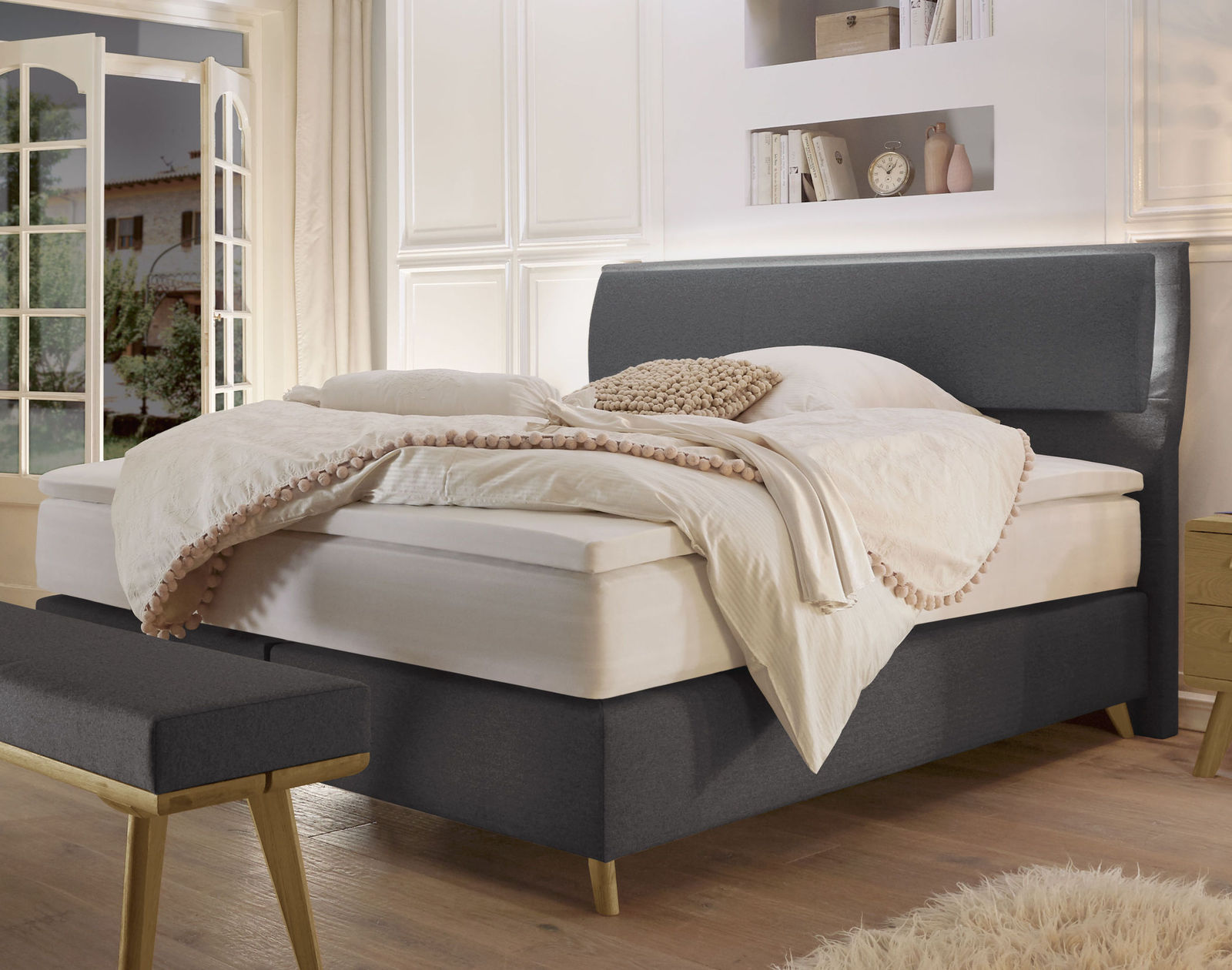 boxspringbett topper bezug boxspringbett ascan 140x200cm bezug schwarz singlebett. Black Bedroom Furniture Sets. Home Design Ideas