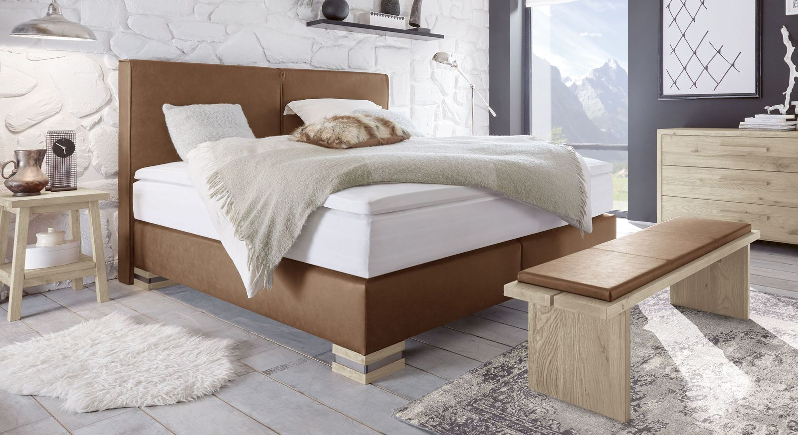 boxspringbett mit waschbarem matratzenbezug kunstleder tholen. Black Bedroom Furniture Sets. Home Design Ideas