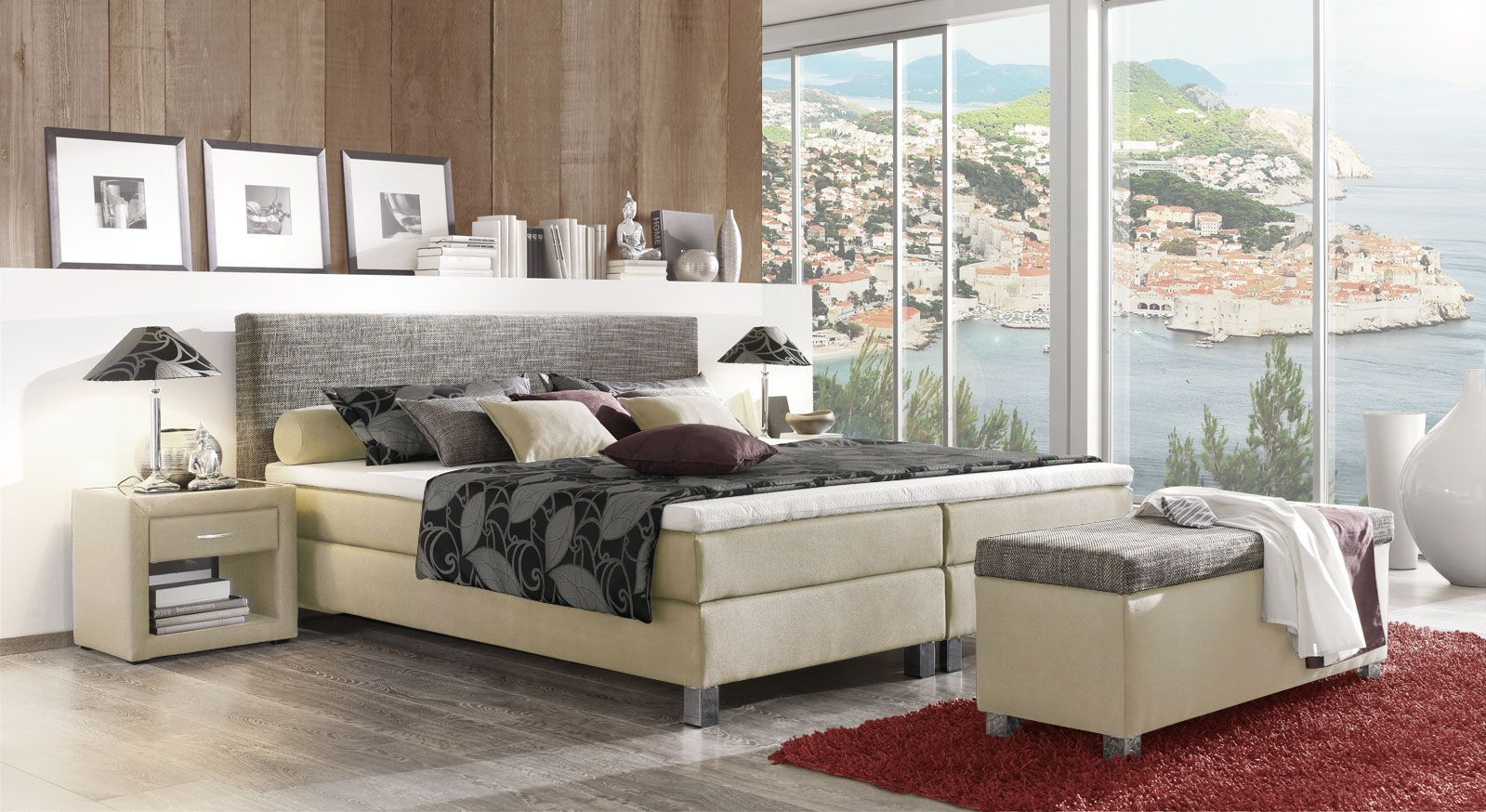 Boxspringbett Triberio Aktion in Creme Grau