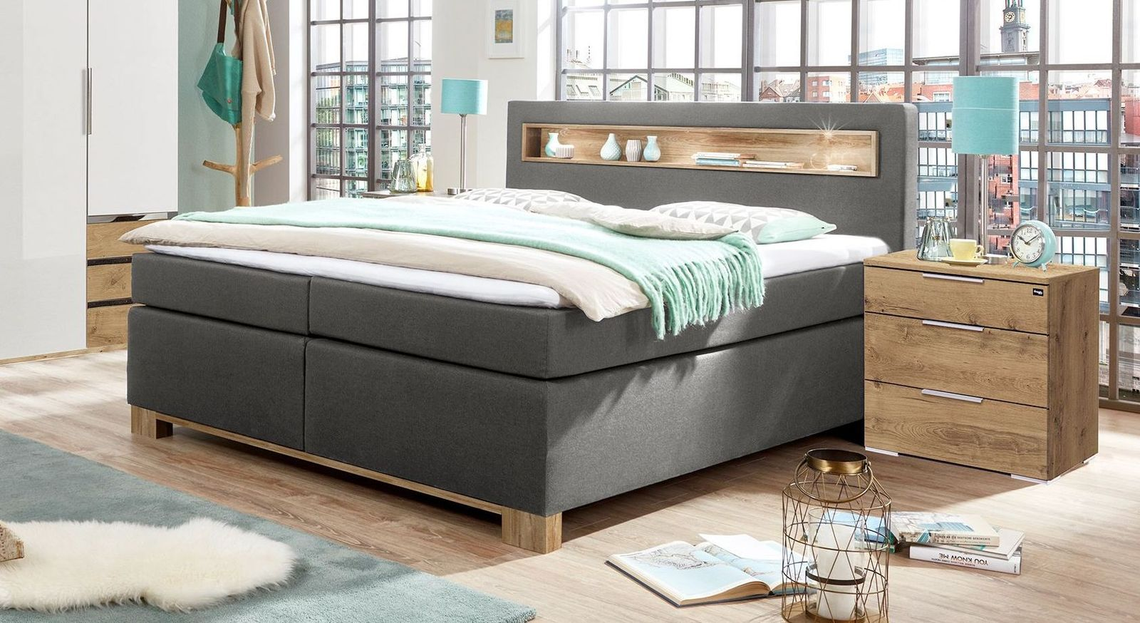 Boxspringbett Valloria mit robustem Stoffbezug in Anthrazit