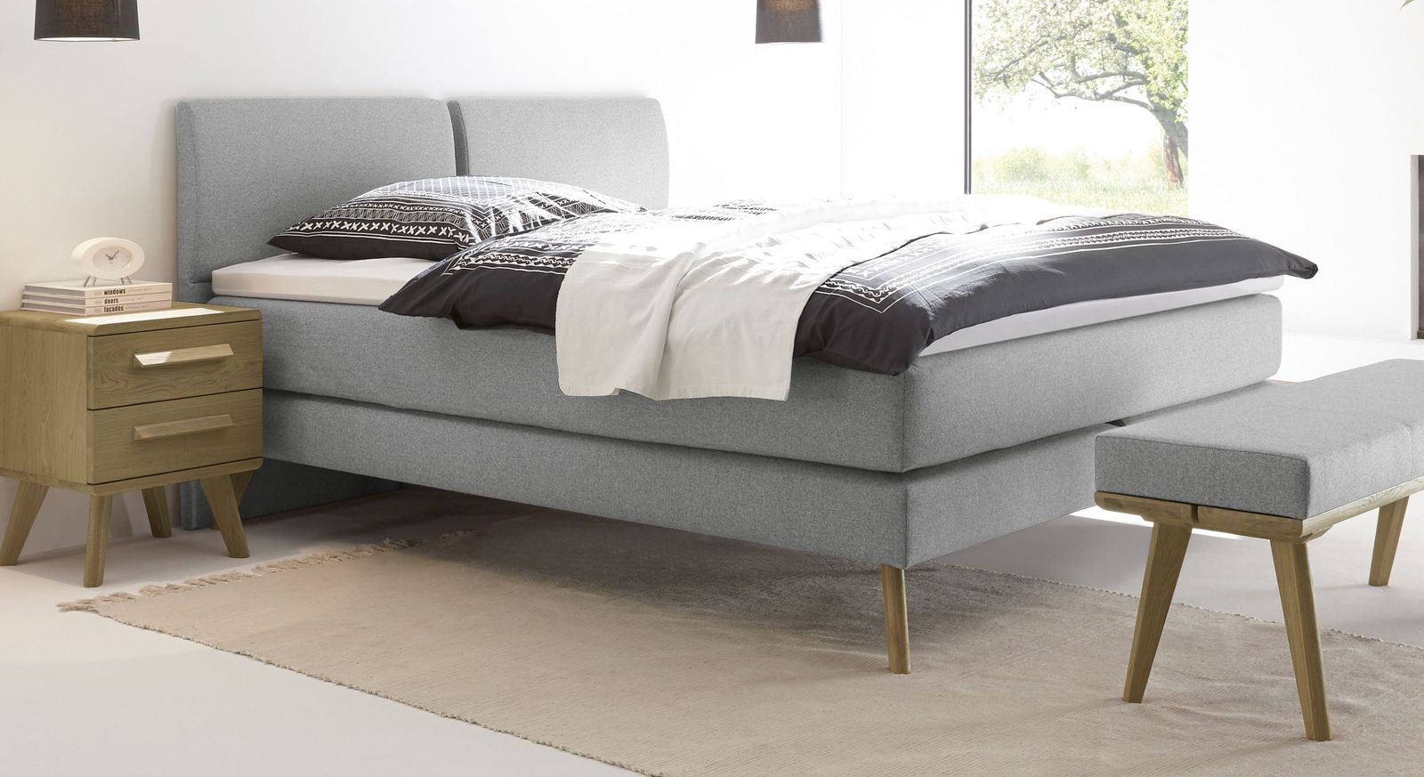 Viane Boxspringbett in grau