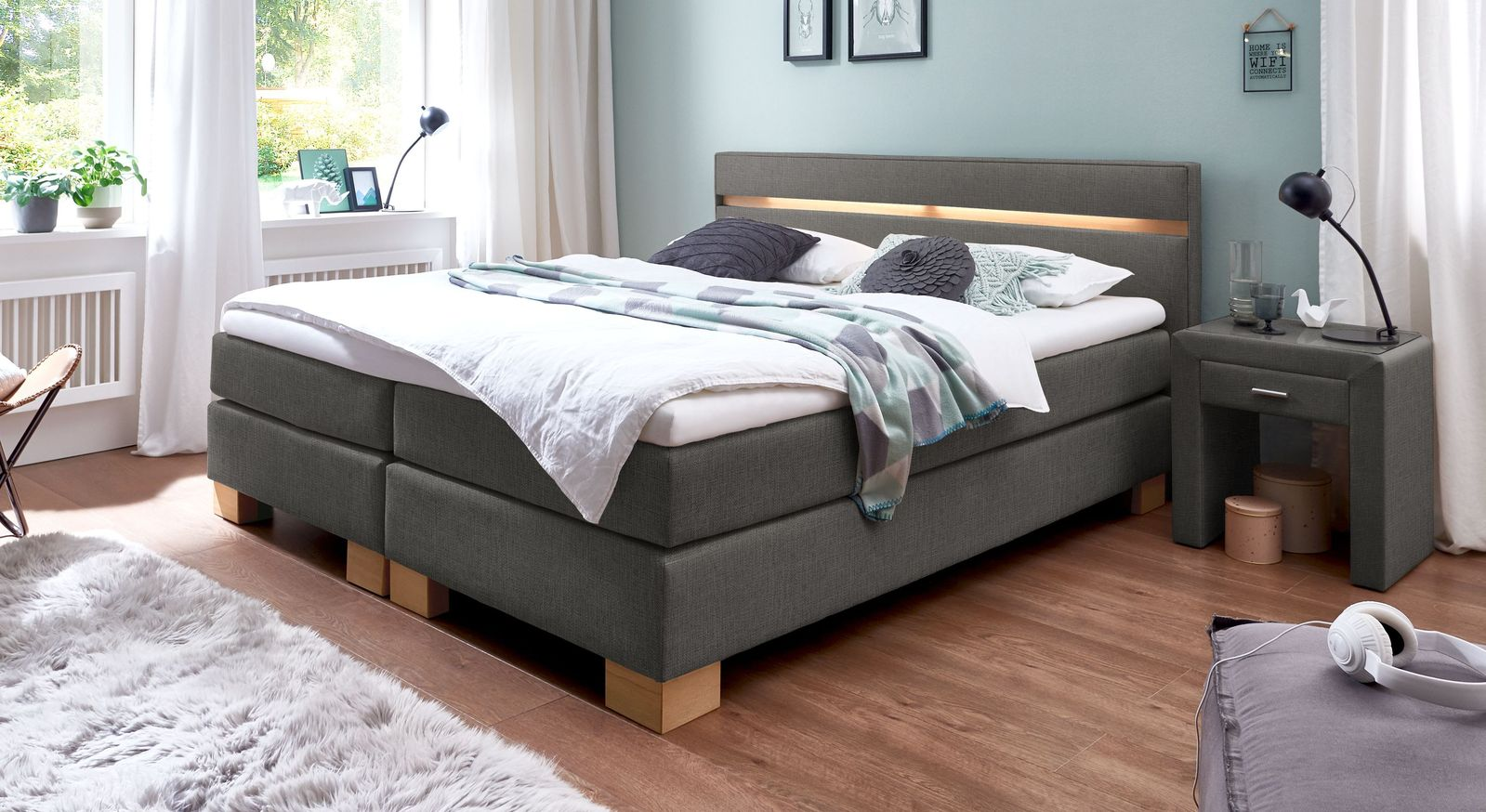 53 cm hohes Boxspringbett Vincenzo aus meliertem Webstoff in Anthrazit