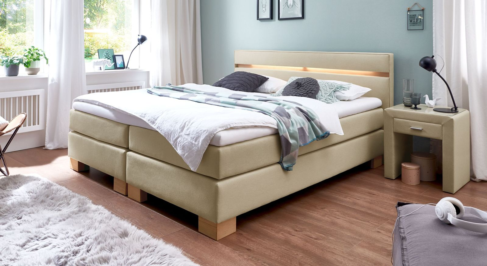 53 cm hohes Boxspringbett Vincenzo aus Webstoff in Natur