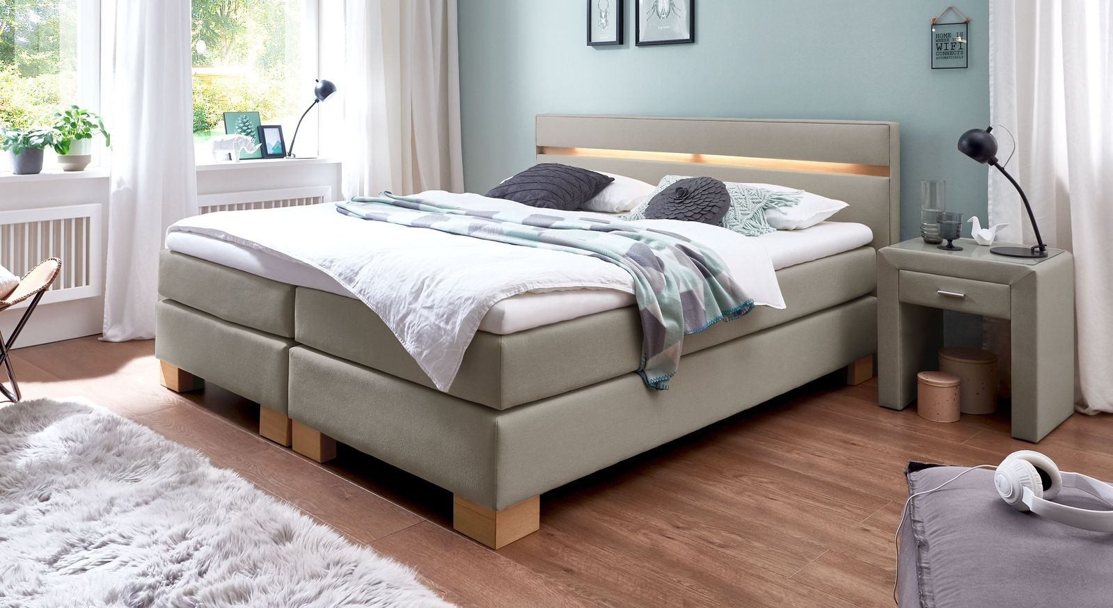 53 cm hohes Boxspringbett Vincenzo aus Webstoff in Taupe