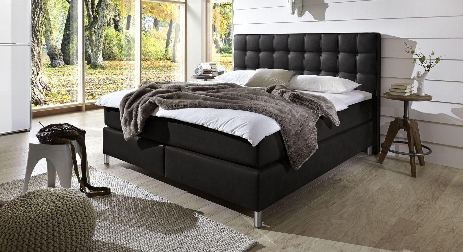 Boxspringbett Zamora aus elegantem Luxuskunstleder in Schwarz