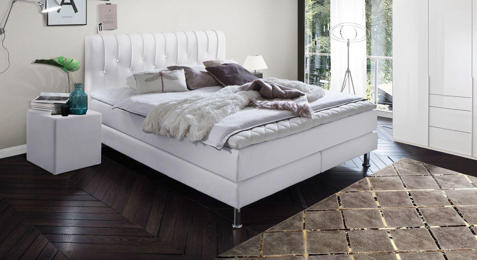 Preiswertes Boxspringbett Zinola aus weißem Kunstleder