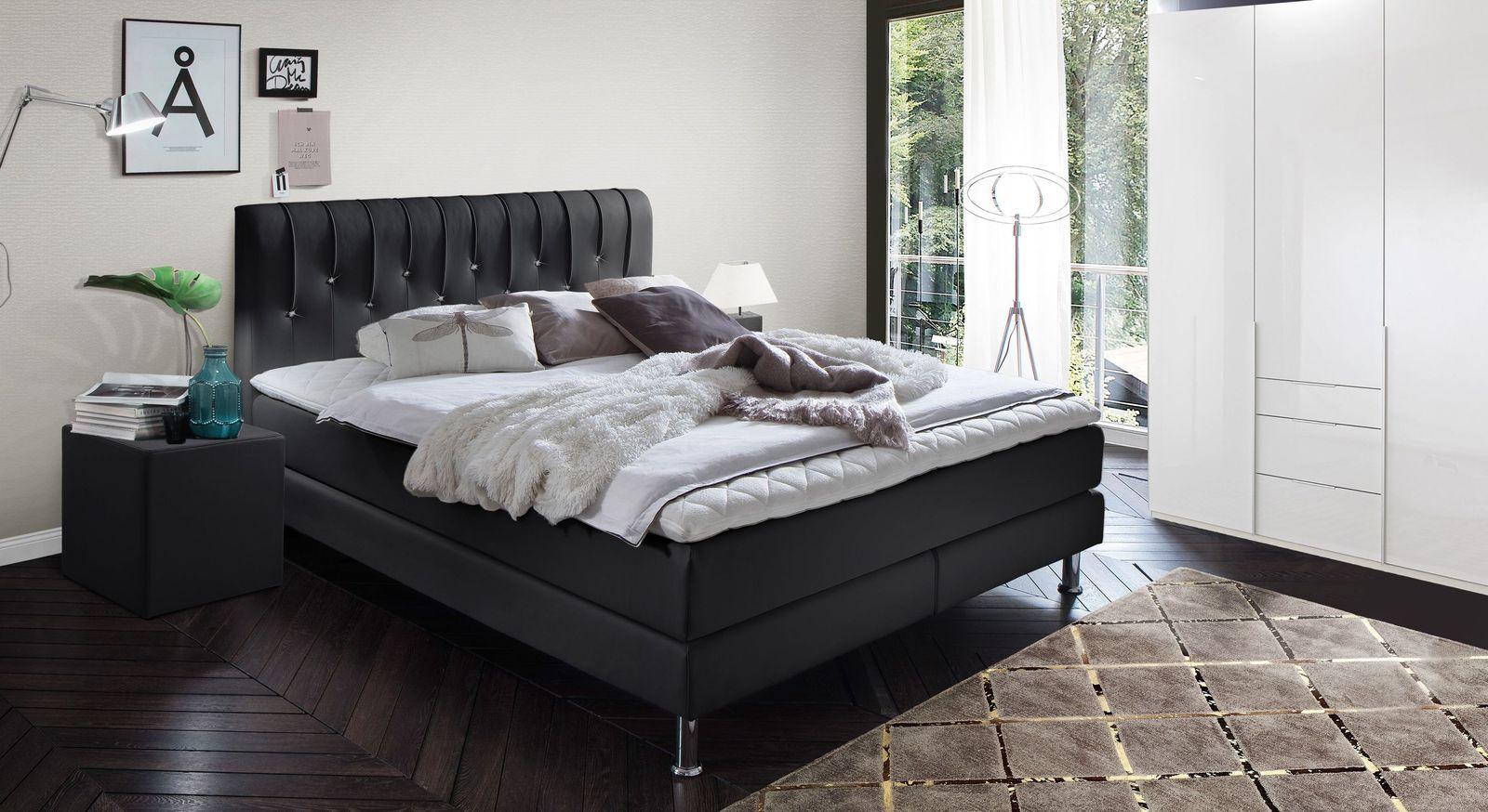 Boxspringbett Zinola mit passender Schlafzimmer-Einrichtung
