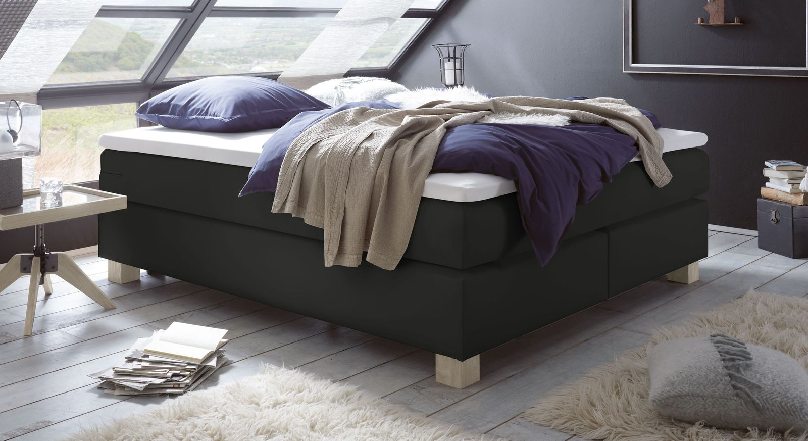 boxspringbett ohne kopfteil boxspringliege neu 09 2018. Black Bedroom Furniture Sets. Home Design Ideas