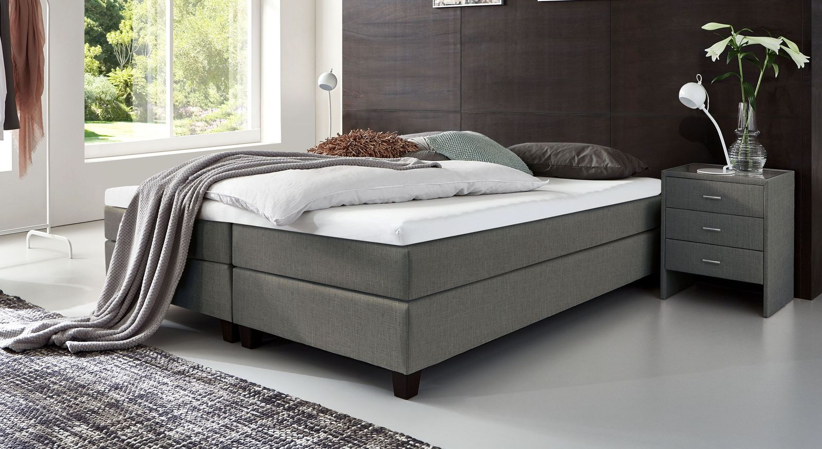 53 cm hohe Boxspringliege Luciano aus meliertem Webstoff in Grau