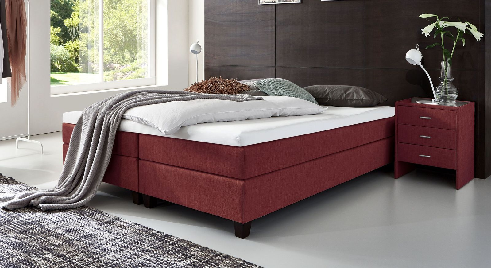 53 cm hohe Boxspringliege Luciano aus meliertem Webstoff in Rot