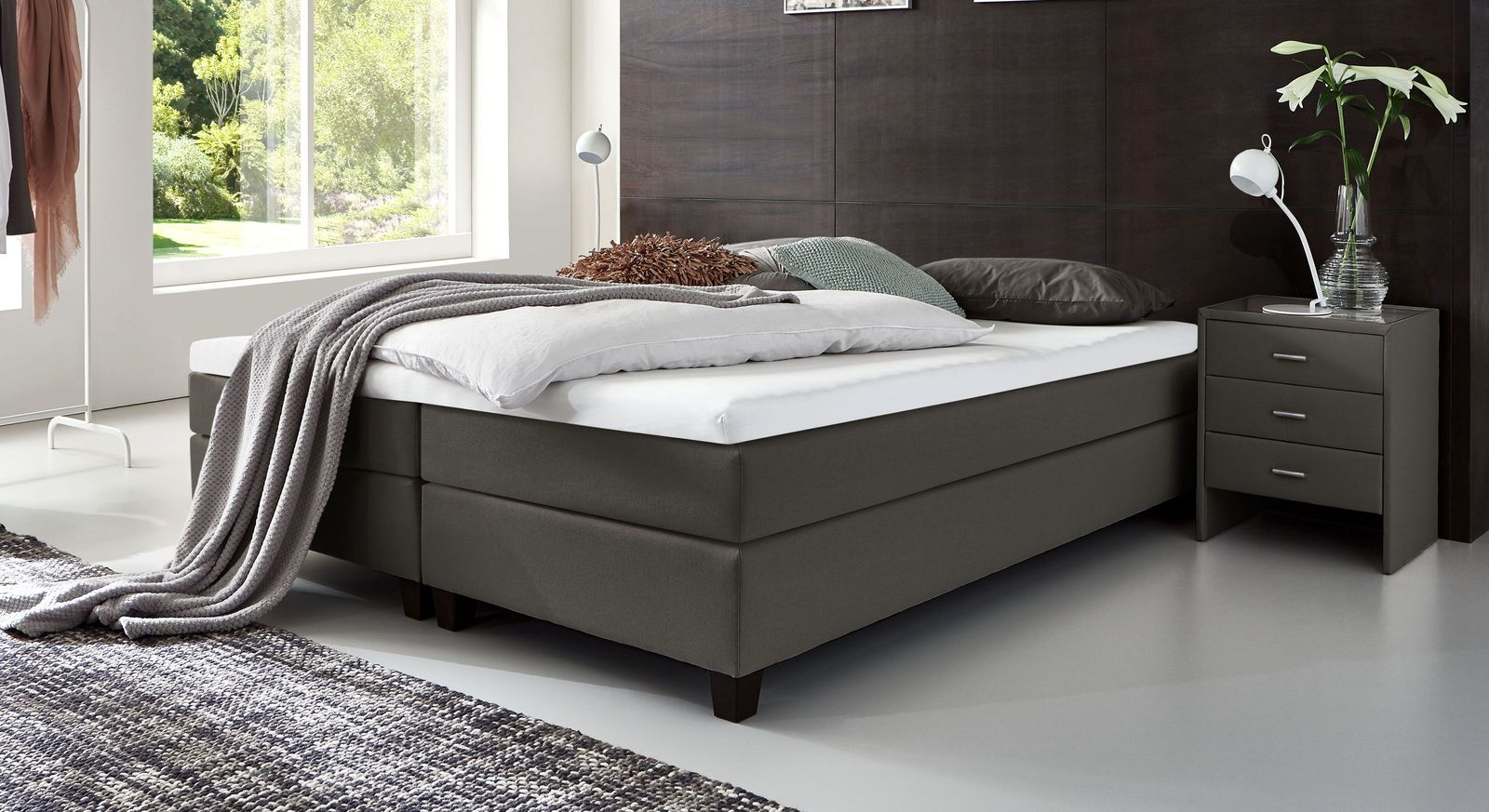53 cm hohe Boxspringliege Luciano aus Webstoff in Anthrazit