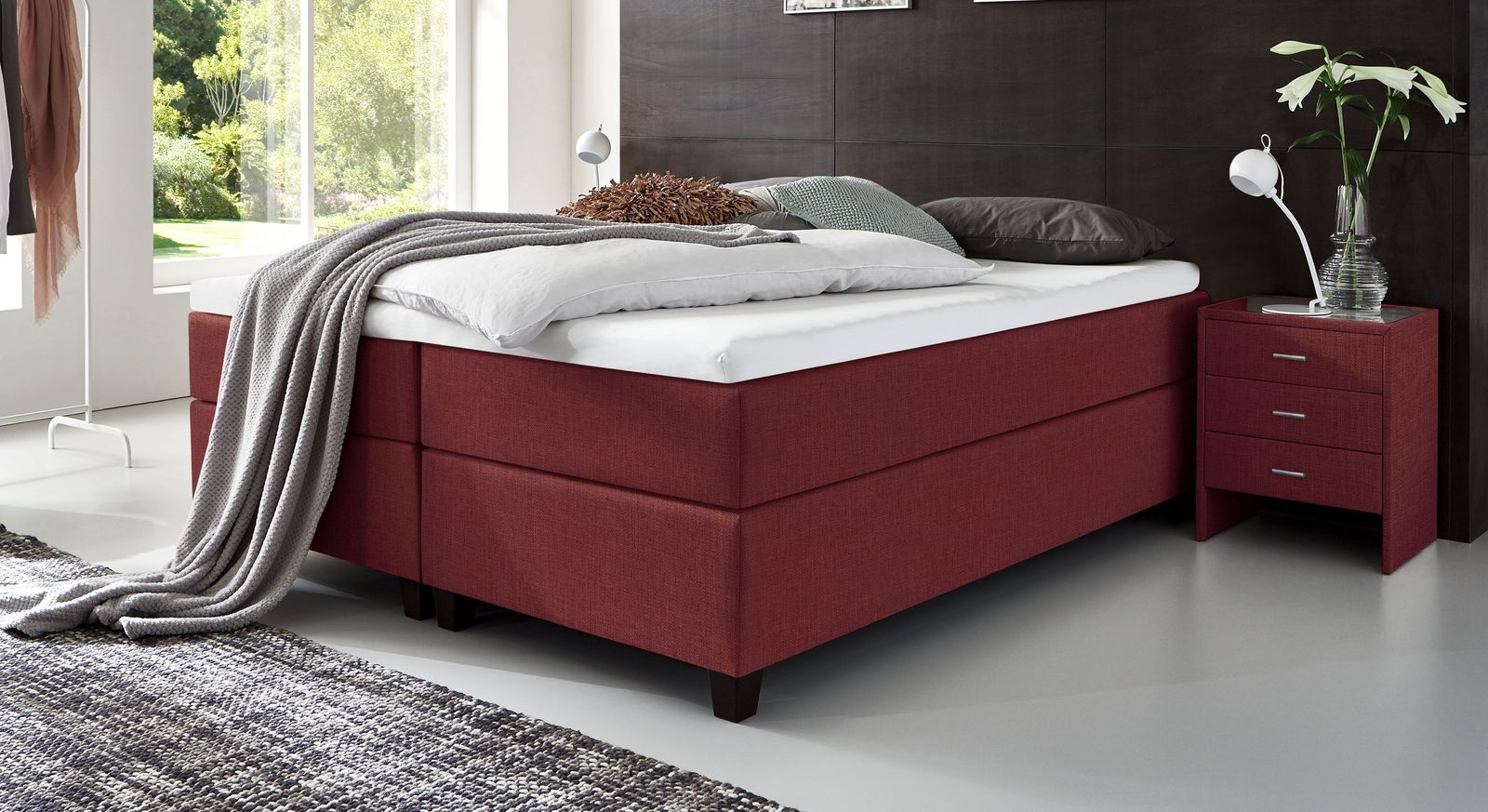 66 cm hohe Boxspringliege Luciano aus meliertem Webstoff in Rot