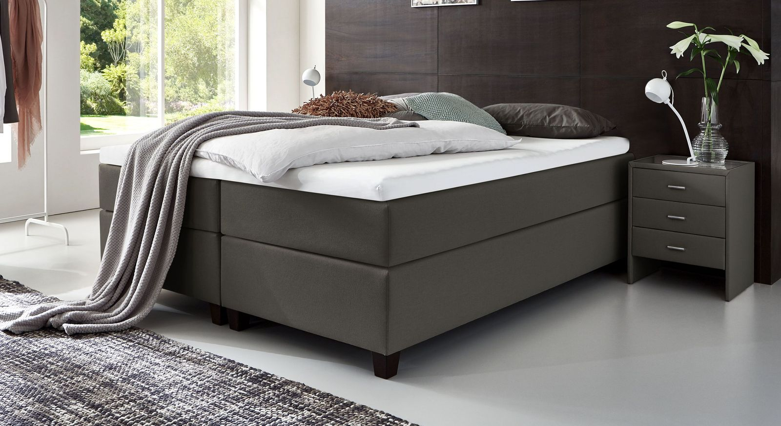 66 cm hohe Boxspringliege Luciano aus Webstoff in Anthrazit