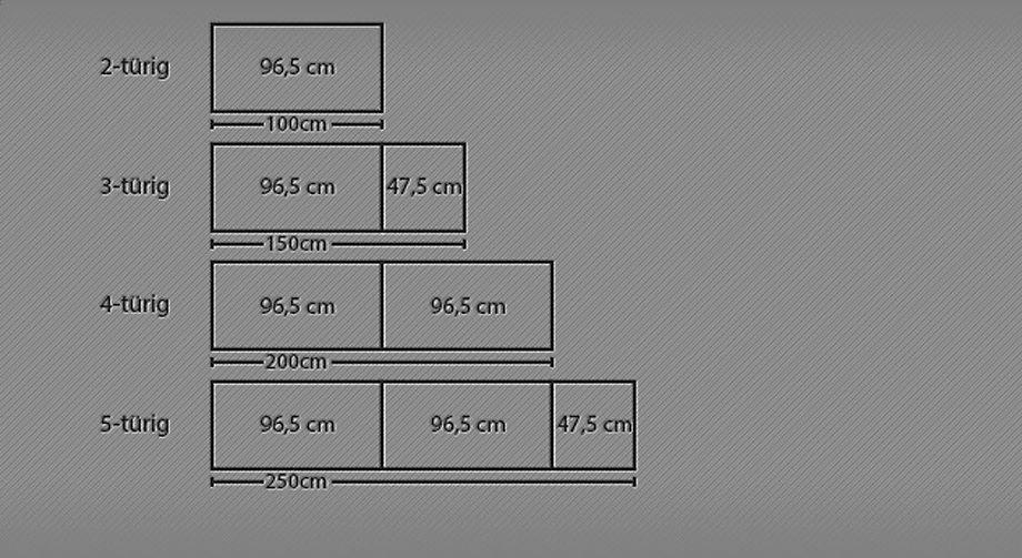 Maße des Drehtüren-Kleiderschranks Huddersfield mit Kristallstein-Zierleiste