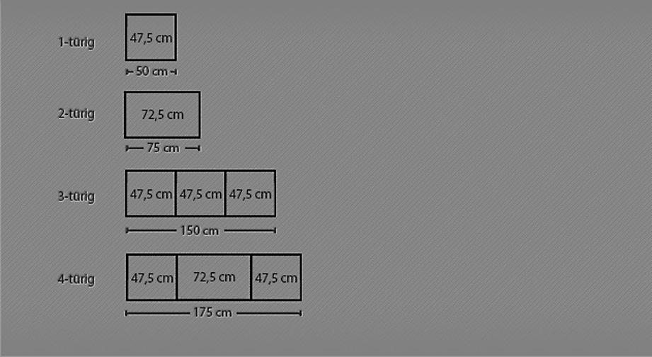 Breitenansicht vom Funktions-Kleiderschrank Rapino bis 175 cm