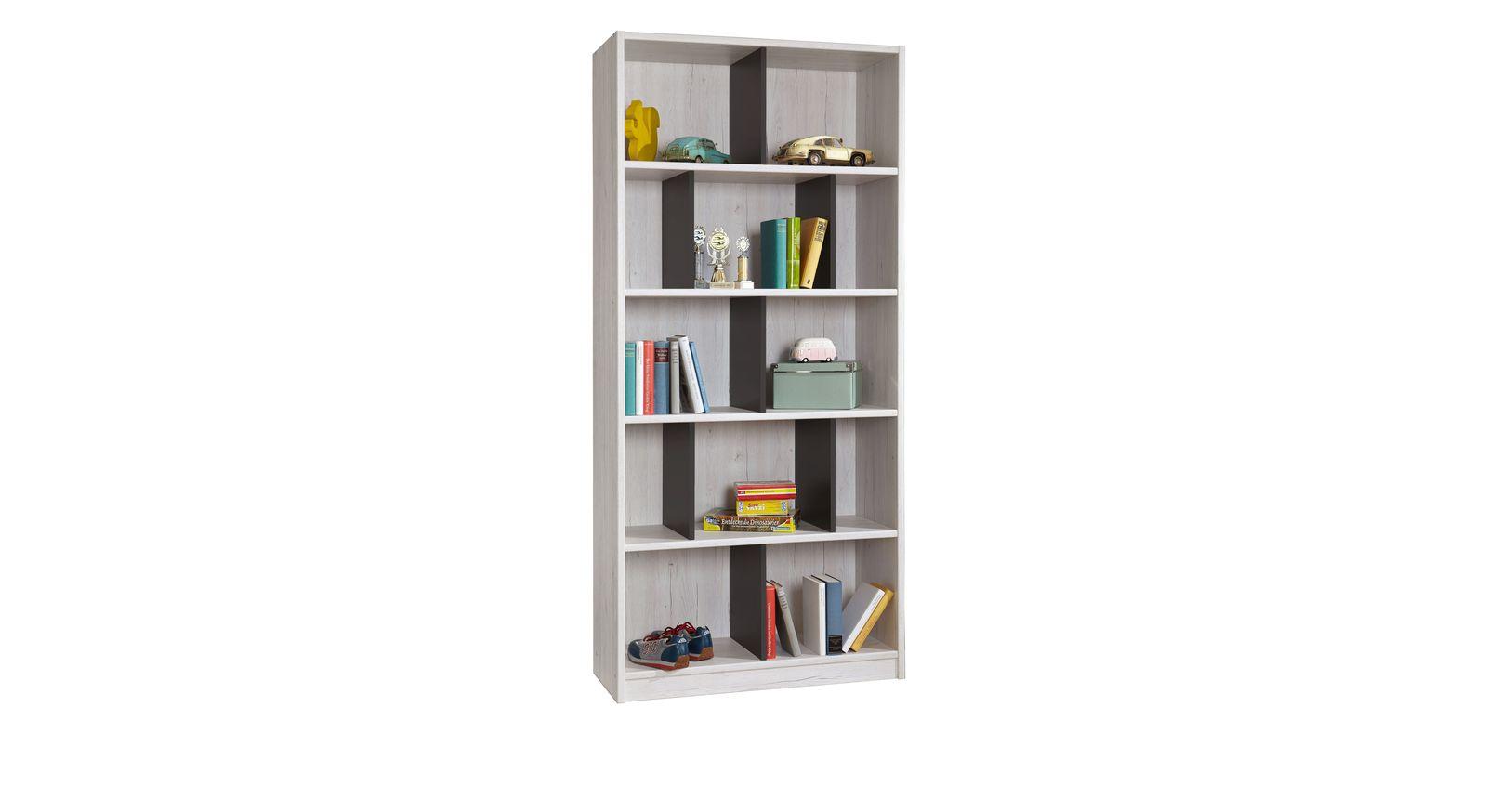 Bücherregal Mereto mit lavafarbenen Trennungselementen