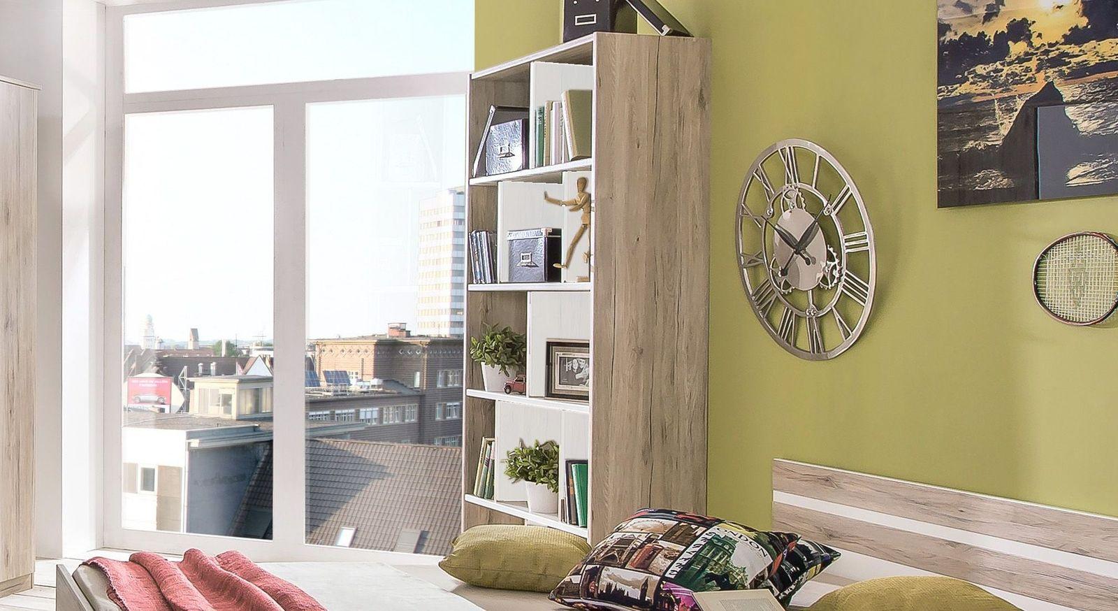 Bücherregal Tropea mit alpinweißen Trennwänden