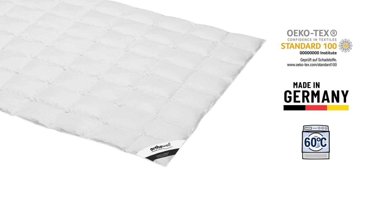 Zertifizierte Daunen-Bettdecke orthowell Standard extra leicht