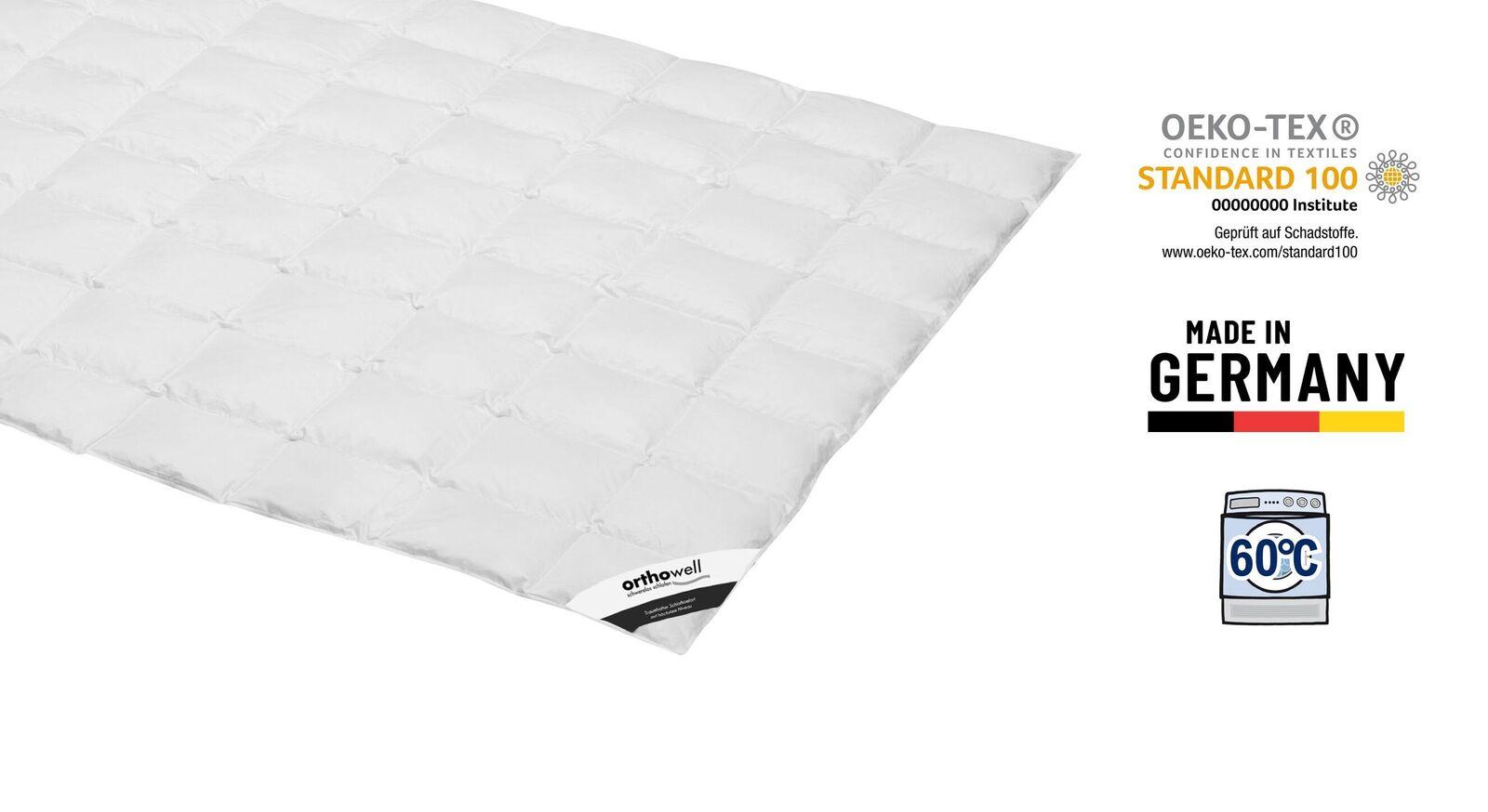 Zertifizierte Daunen-Bettdecke orthowell Superior extra leicht
