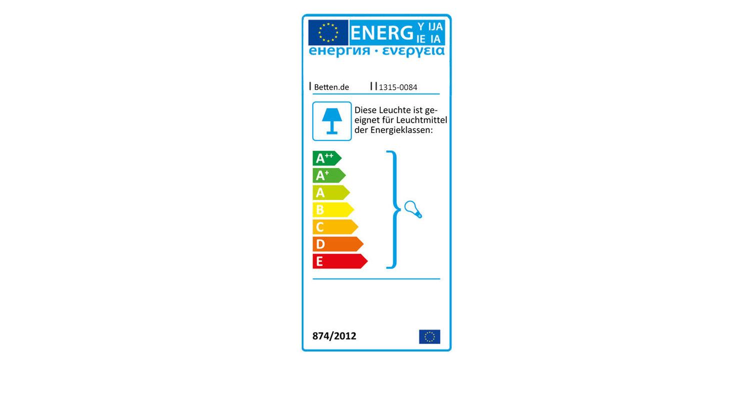 Energie-Verbrauchskennzeichen der LIFETIME Deckenlampe Sternenglanz