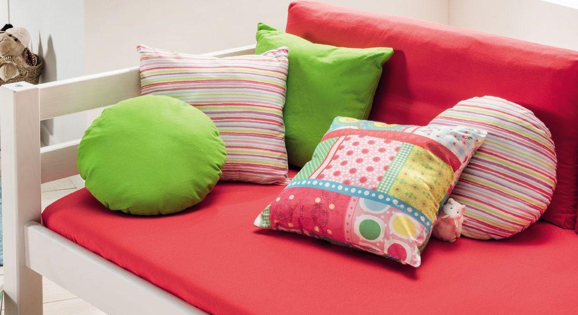 Farbenfrohe Dekokissen Kids Paradise mit abnehmbarem Bezug