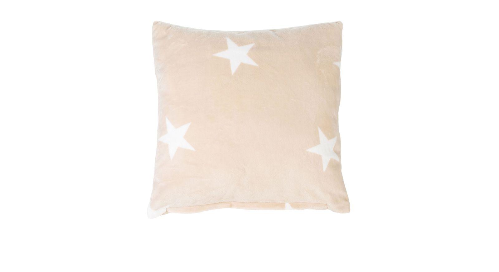 Quadratisches Dekokissen Sternenregen in Creme