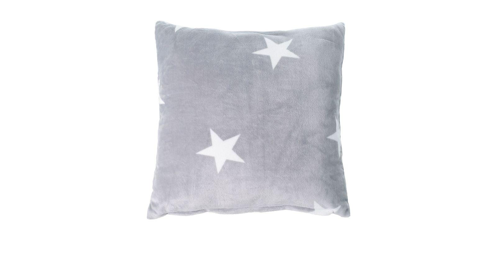 Dekokissen Sternenregen in silber mit flauschiger Oberfläche