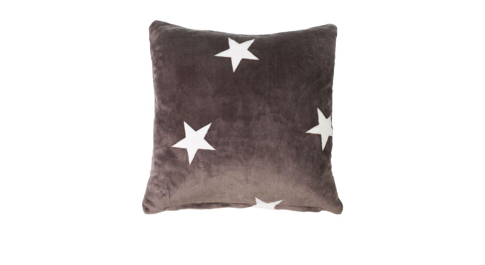 Taupefarbenes Dekokissen Sternenregen ideal zum Anlehnen