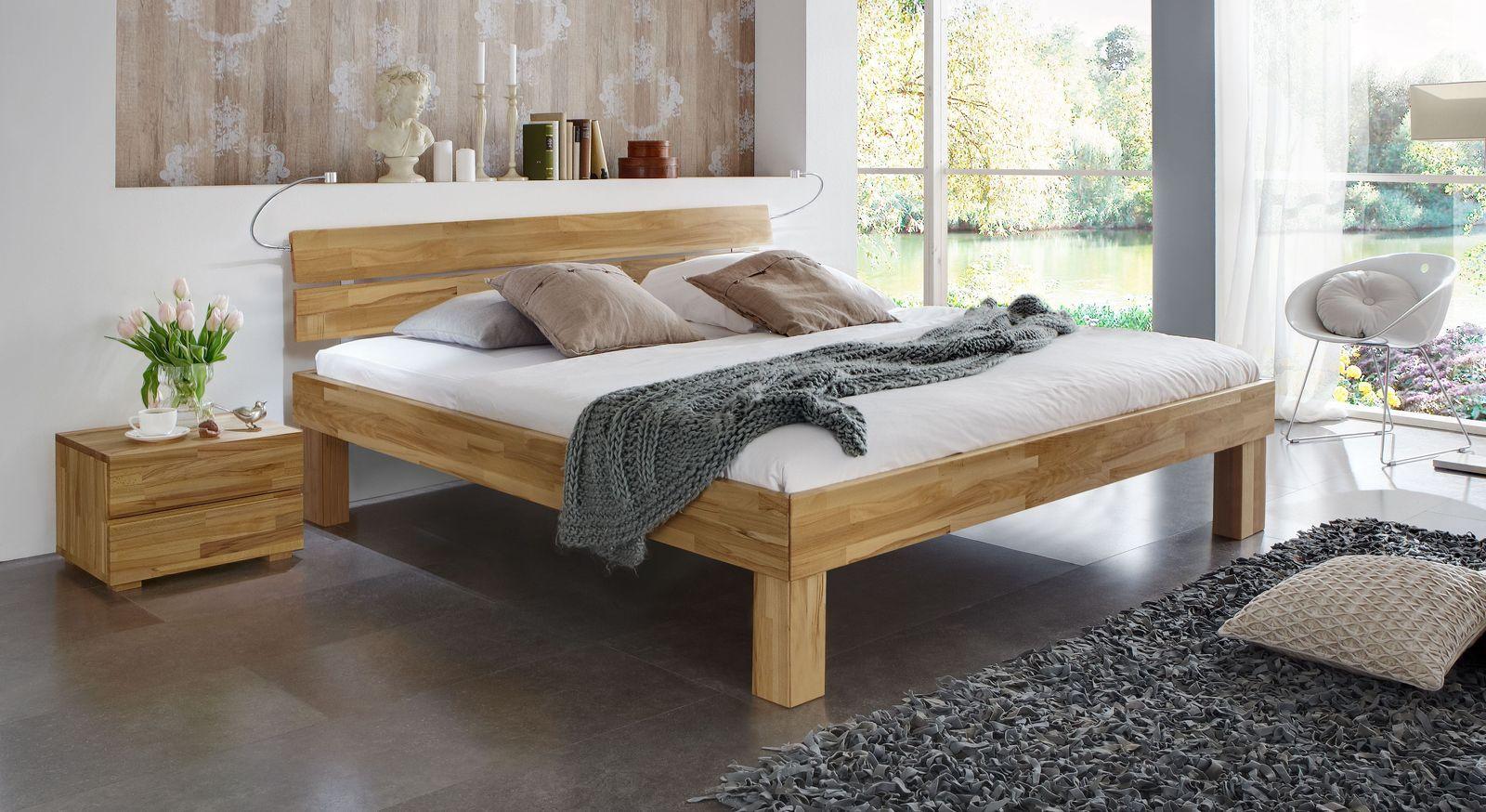 Doppelbett Madrid Komfort aus Kernbuche natur in 25 cm Höhe