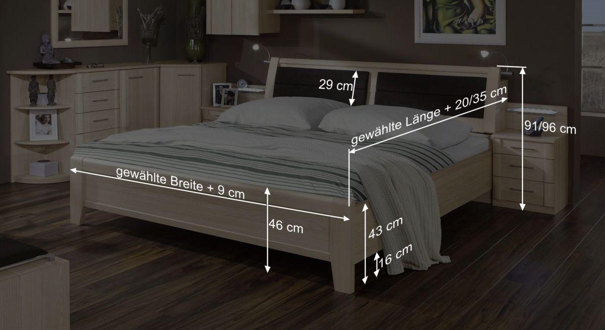 Bemaßungsgrafik zum Doppelbett Rapino