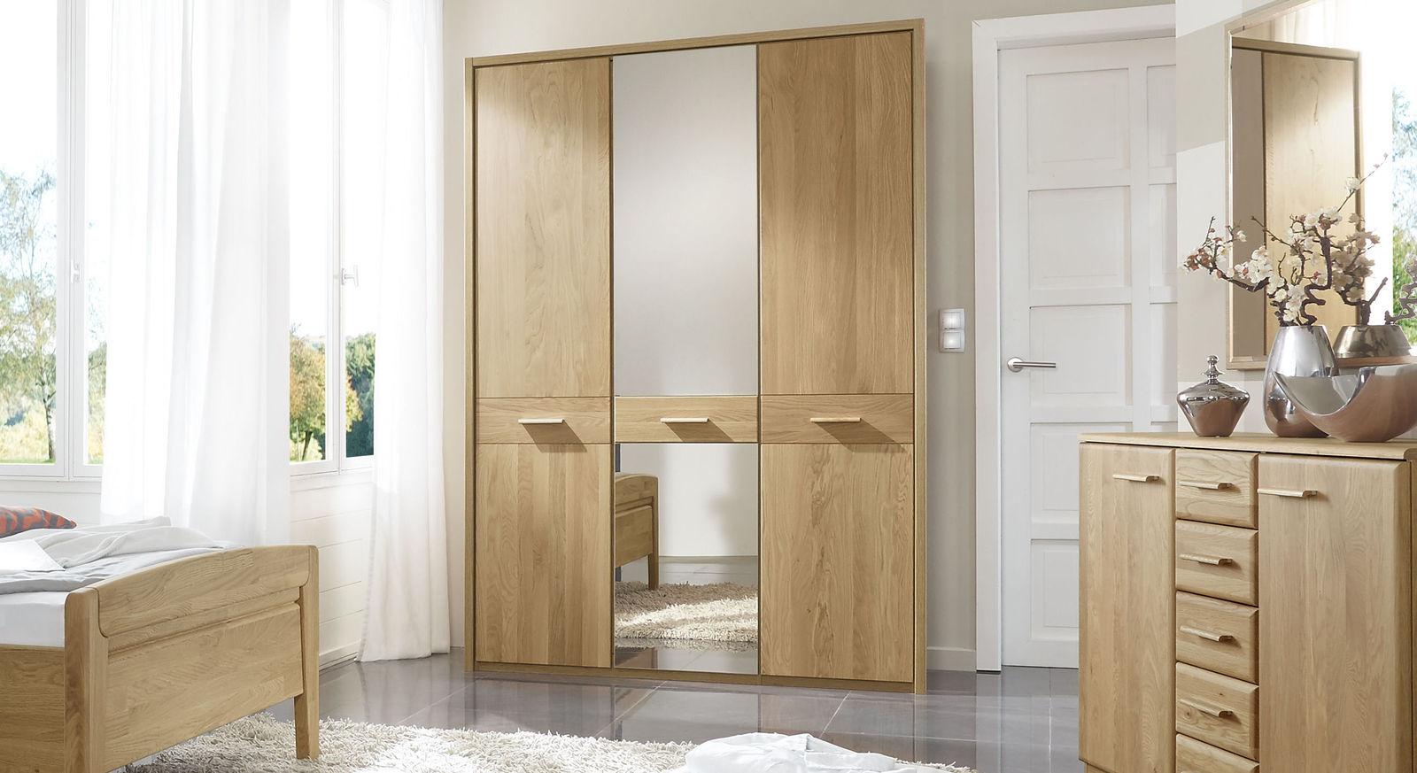 Drehtüren-Kleiderschrank Agaro aus Eiche mit Spiegel