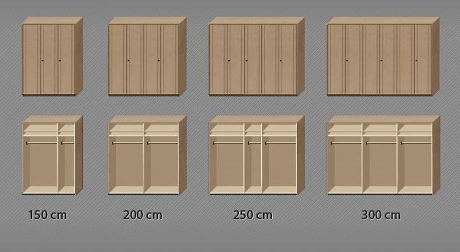 Drehtüren-Kleiderschrank Ageo Holzfront mit Grafik zur Inneneinteilung