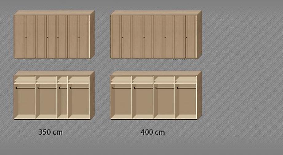 Drehtüren-Kleiderschrank Ageo Holzfront mit praktischer Infografik