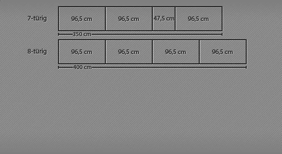 Ansicht der Innenaufteilung beim Drehtüren-Kleiderschrank Ageo Holzfront