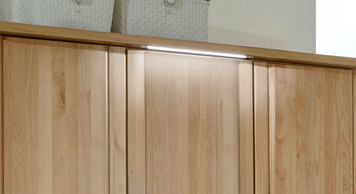 Drehtüren-Kleiderschrank Ageo Holzfront optional mit Beleuchtung