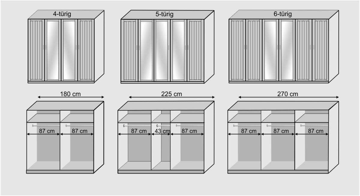 Drehtüren-Kleiderschrank Balero mit Grafik zur Inneneinteilung