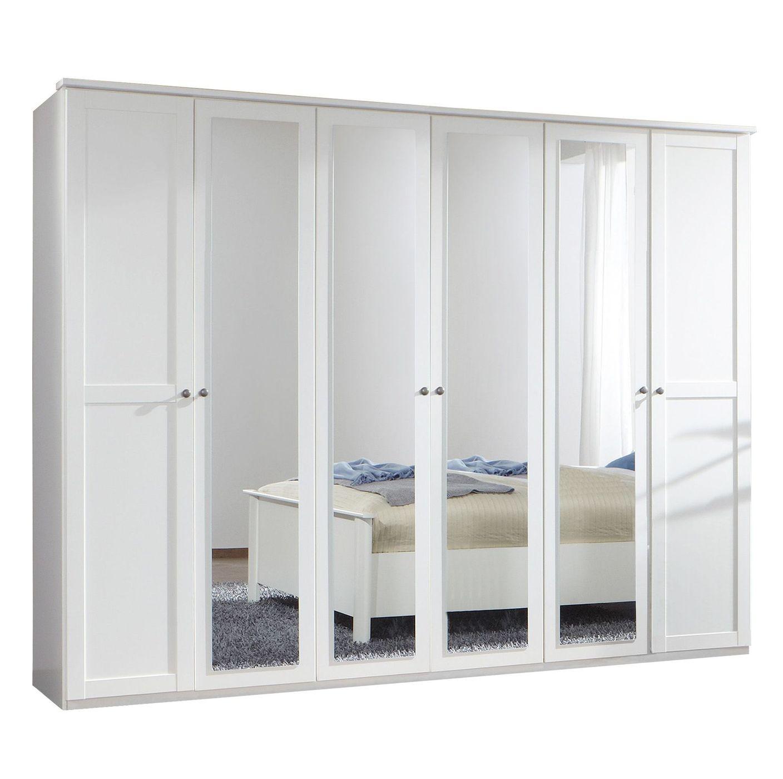 wei er kleiderschrank mit dreht ren und spiegelglasfront berata. Black Bedroom Furniture Sets. Home Design Ideas
