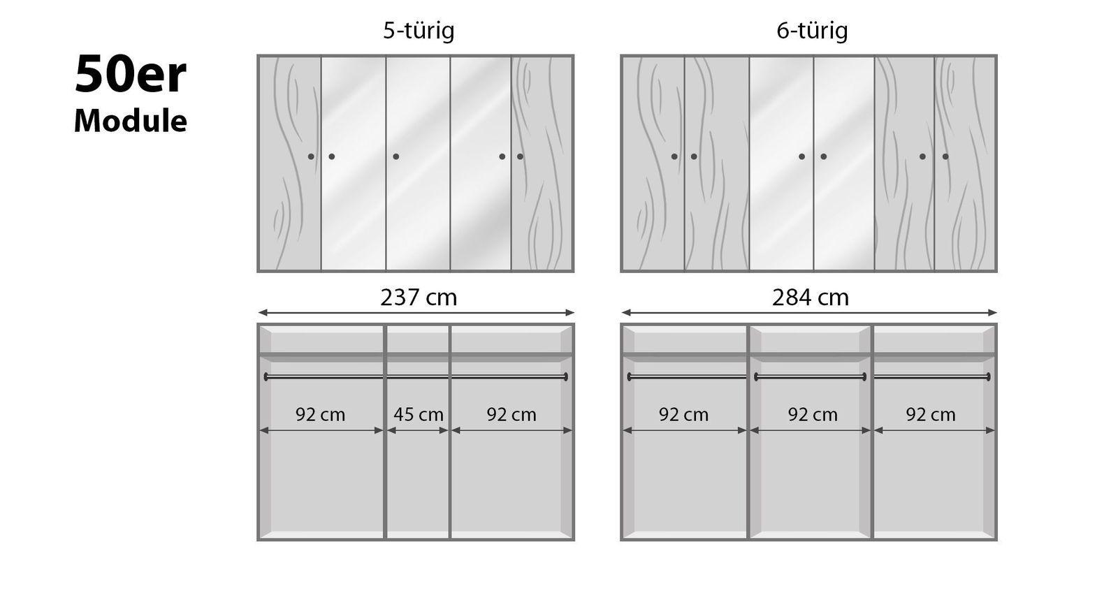 Breite Drehtüren-Kleiderschränke Binita mit 50er Modulen