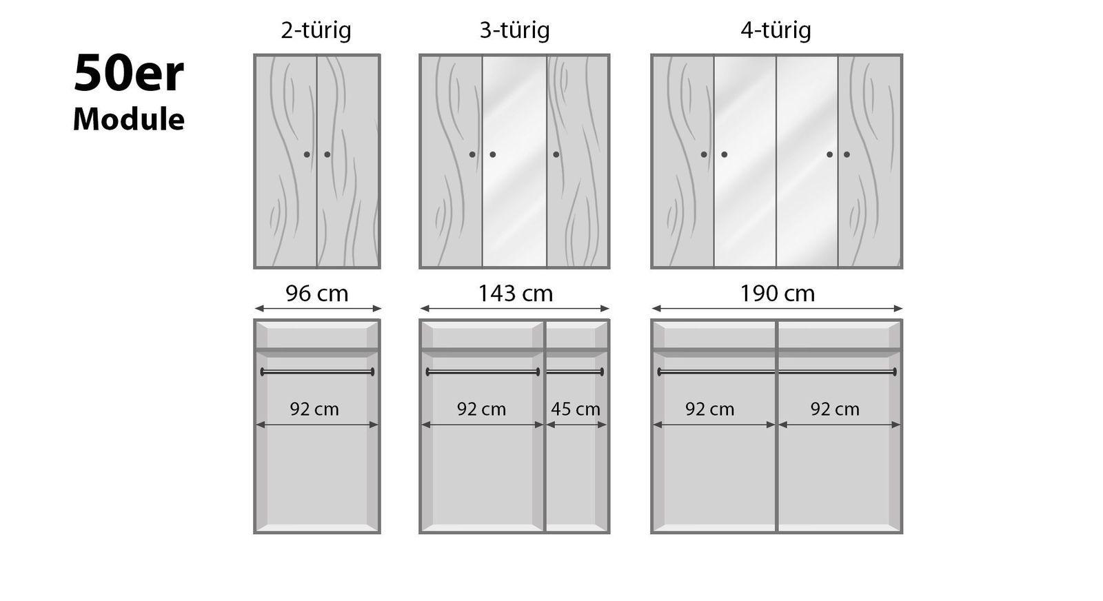 Schmale Drehtüren-Kleiderschränke Binita mit 50er Modulen