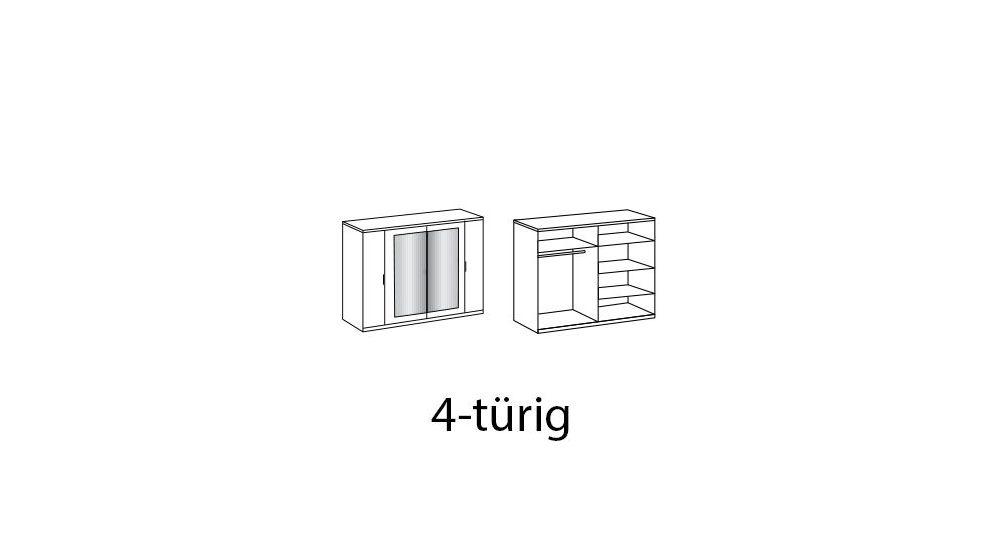 Grafik zur Inneneinteilung des Drehtüren-Kleiderschranks Boquila