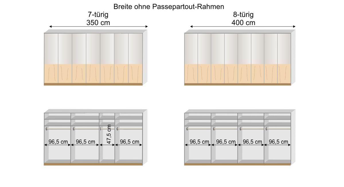 Grafik zur Inneneinteilung des 7- und 8-türigen Drehtüren-Kleiderschranks Briston