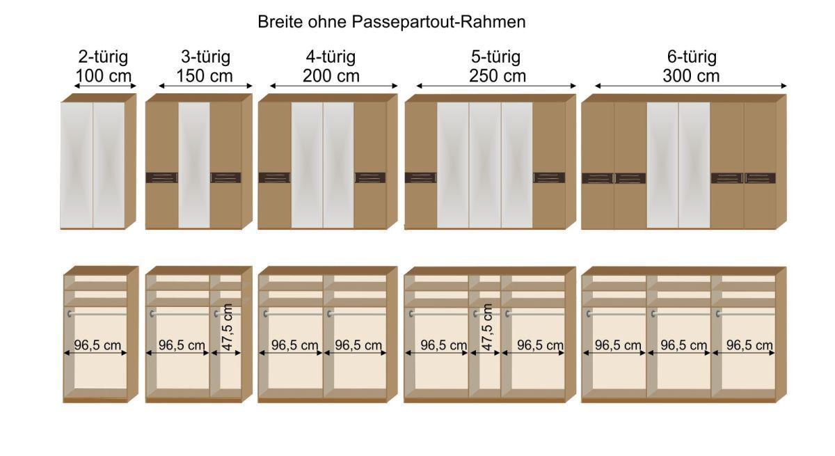 Grafik zur Inneneinteilung des 2-6-türigen Drehtüren-Kleiderschranks Burbia