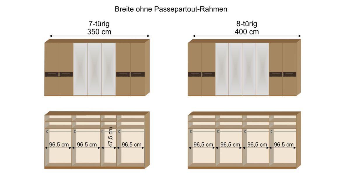 Grafik zur Inneneinteilung des 7- und 8-türigen Drehtüren-Kleiderschranks Burbia