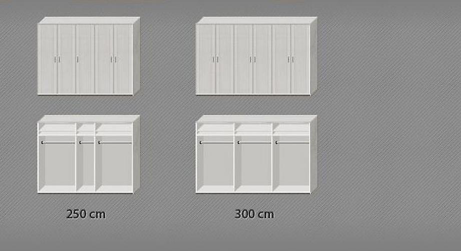 Aufteilung der Einlegeböden und Kleiderstangen des Drehtüren-Kleiderschranks Calimera