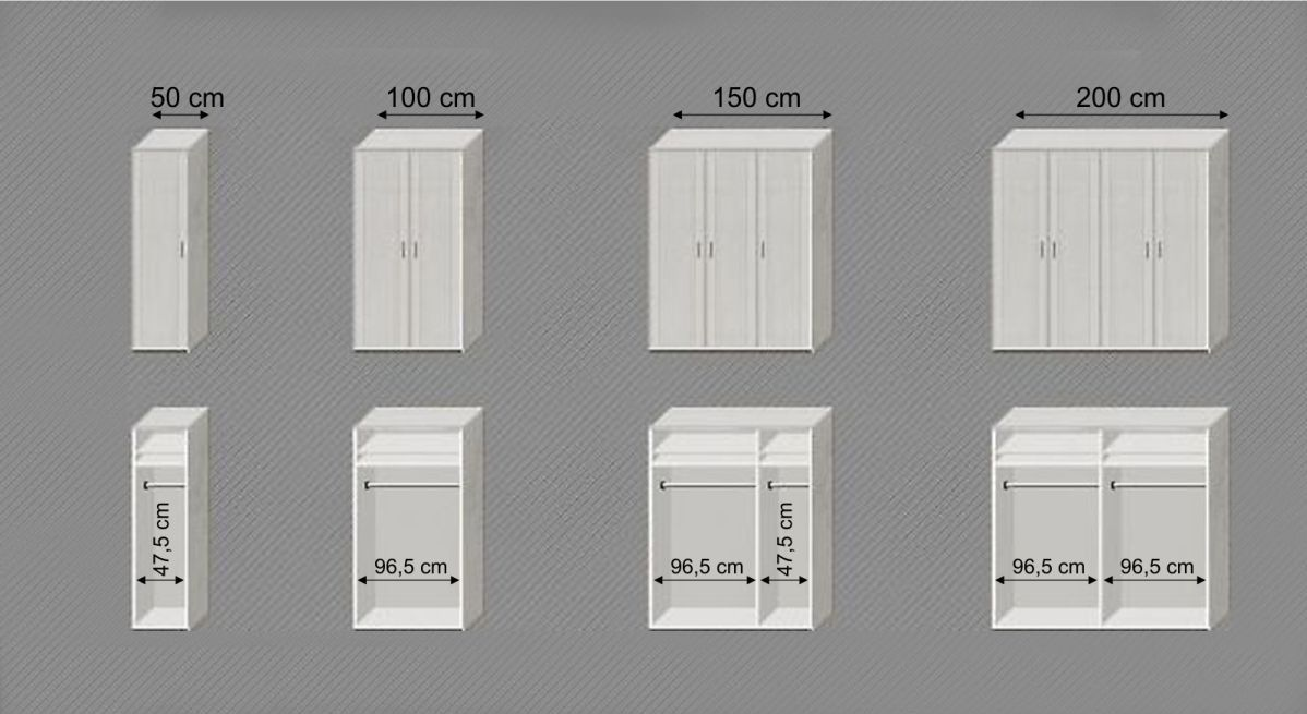 Grafik zu den verschiedenen Varianten vom Kleiderschrank Calimera