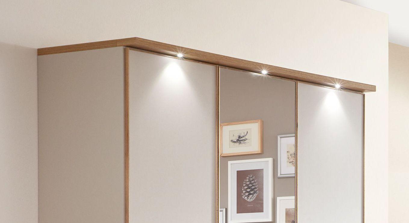 Drehtüren-Kleiderschrank Dolavon mit Beleuchtung an der Kranzleiste