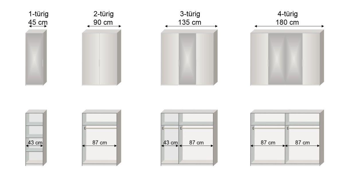 Grafik zur Inneneinteilung des 1-4-türigen Drehtüren-Kleiderschranks Esperia mit Spiegel